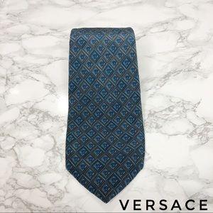 Versace Blue Diamond Medusa Allover Print Silk Tie
